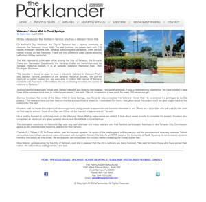 The Parklander, Veterans Wall